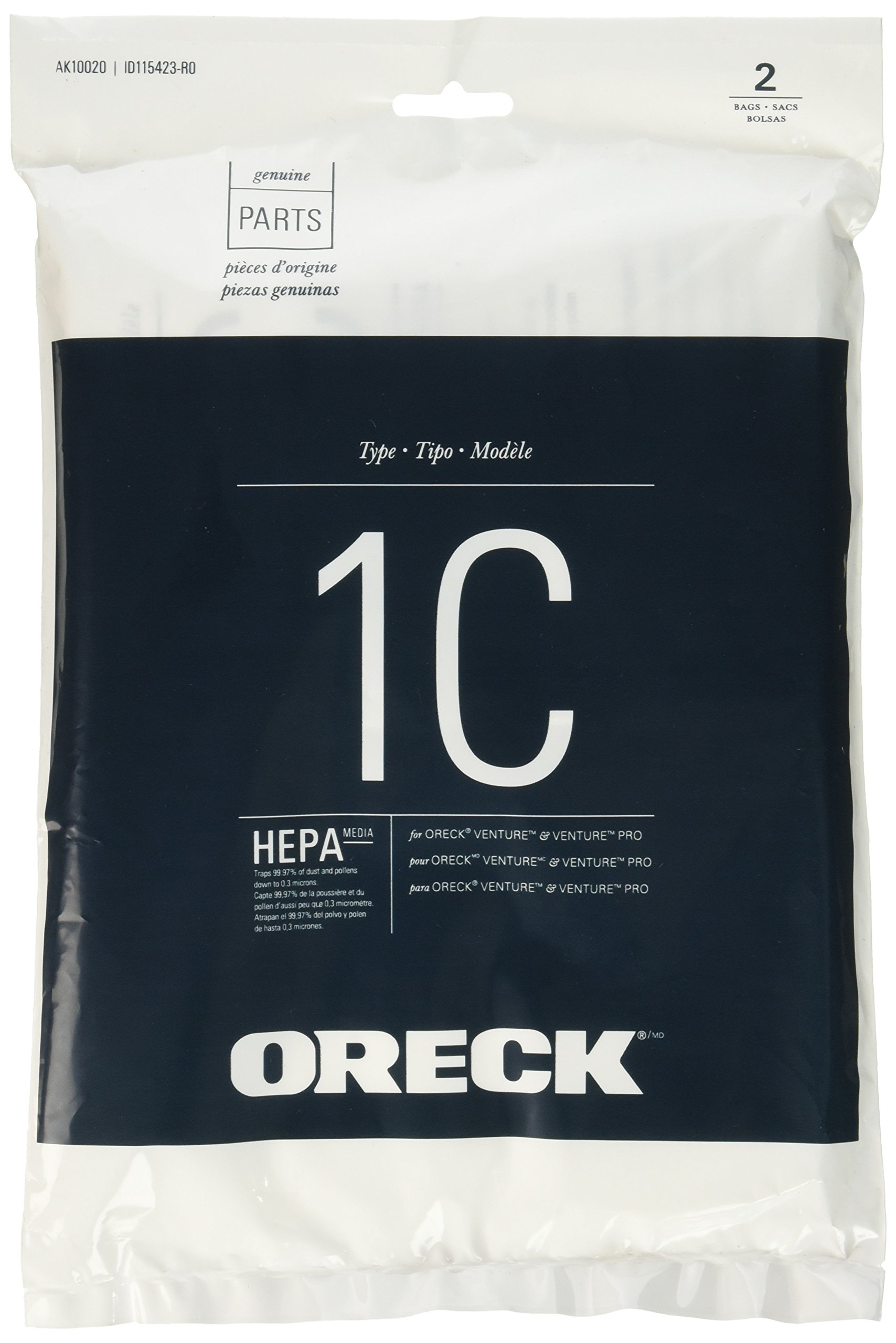 Oreck HEPA Replacement Bag for Venture and Venture Pro Canisters, SK30075PC and SK30090PC by Oreck