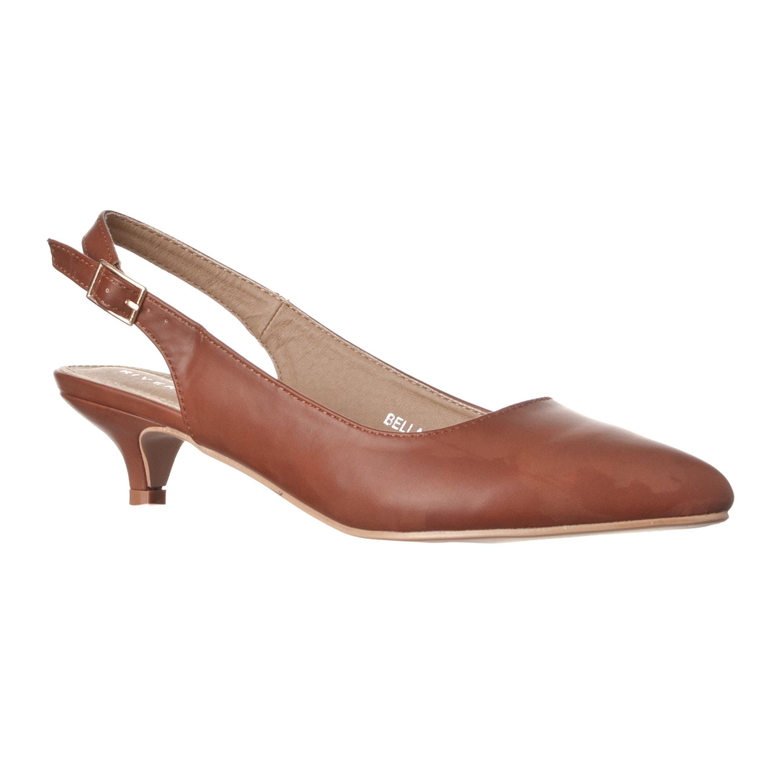 Riverberry Women's Bella Pointed Toe Sling Back Low-Height Pump Heels, Brown PU, 7