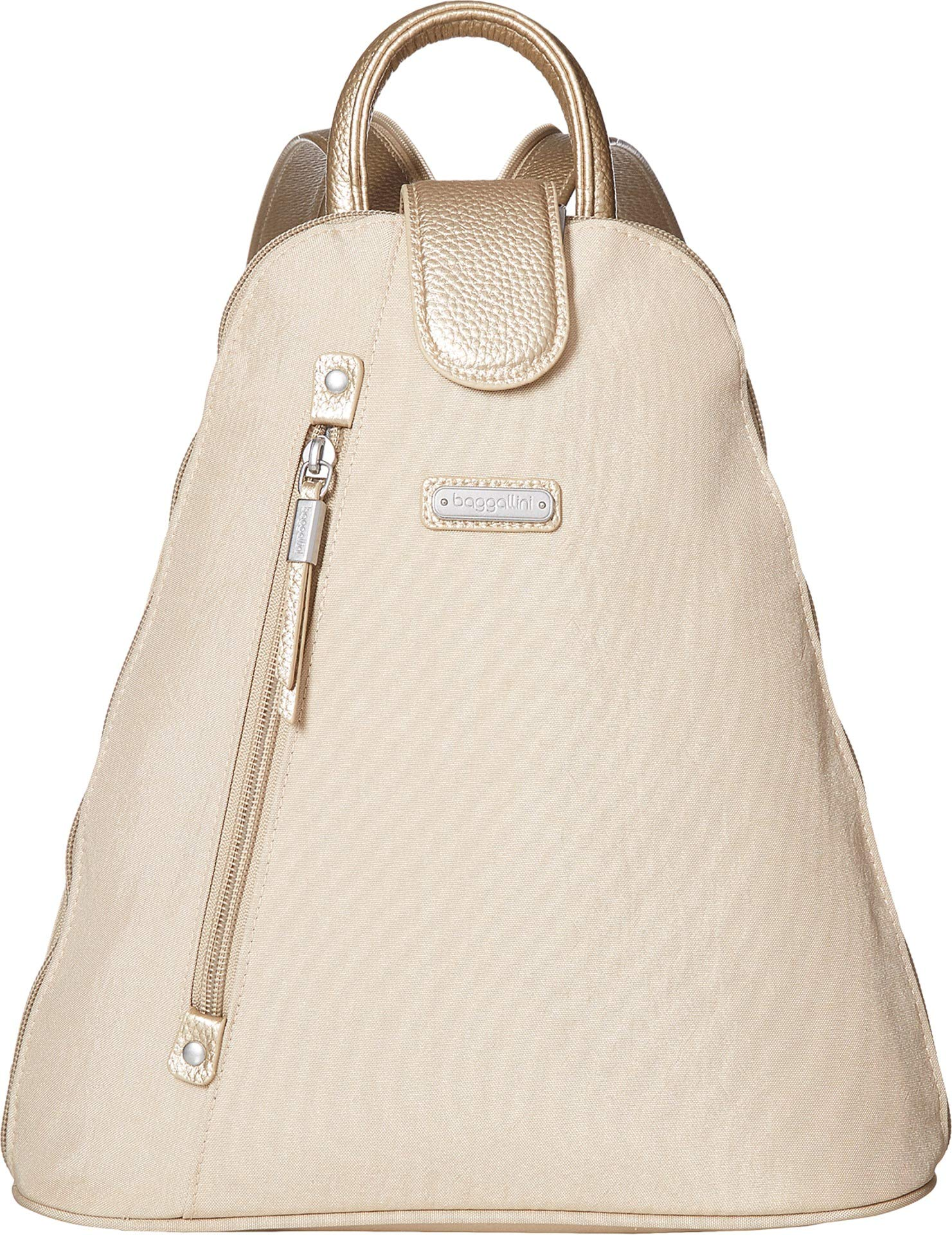 Baggallini Women's Metro Backpack with RFID Phone Wristlet Champagne Shimmer One Size