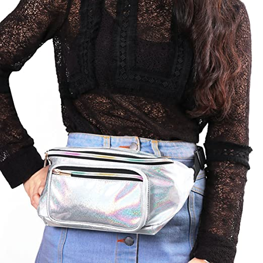 f4a5a42f564d TENDYCOCO Fanny Packs Shiny PU Leather Waist Bag Pouch for Women ...