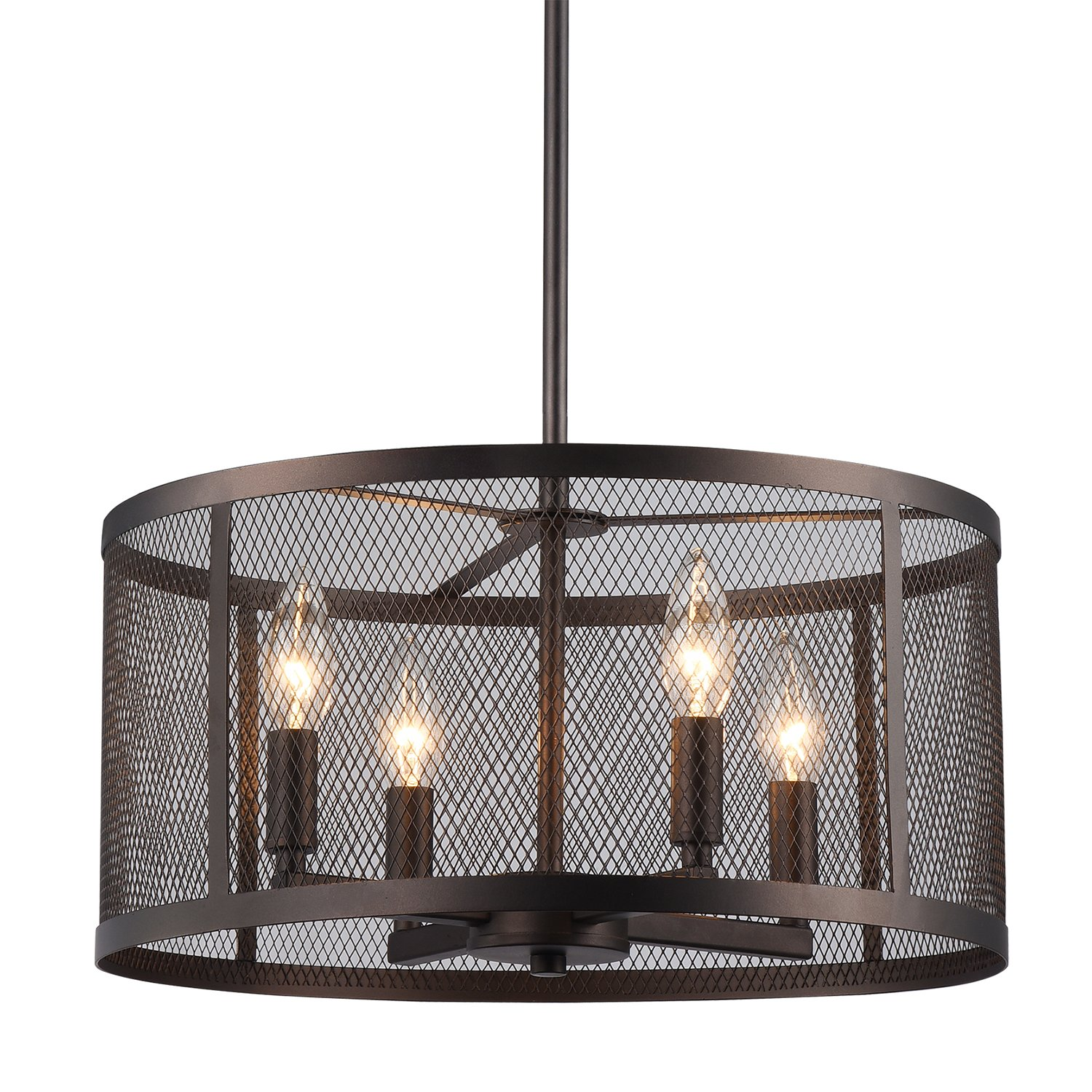 Aludra 4-Light Round Metal Mesh Shade Pendant Chandelier Oil Rubbed ...