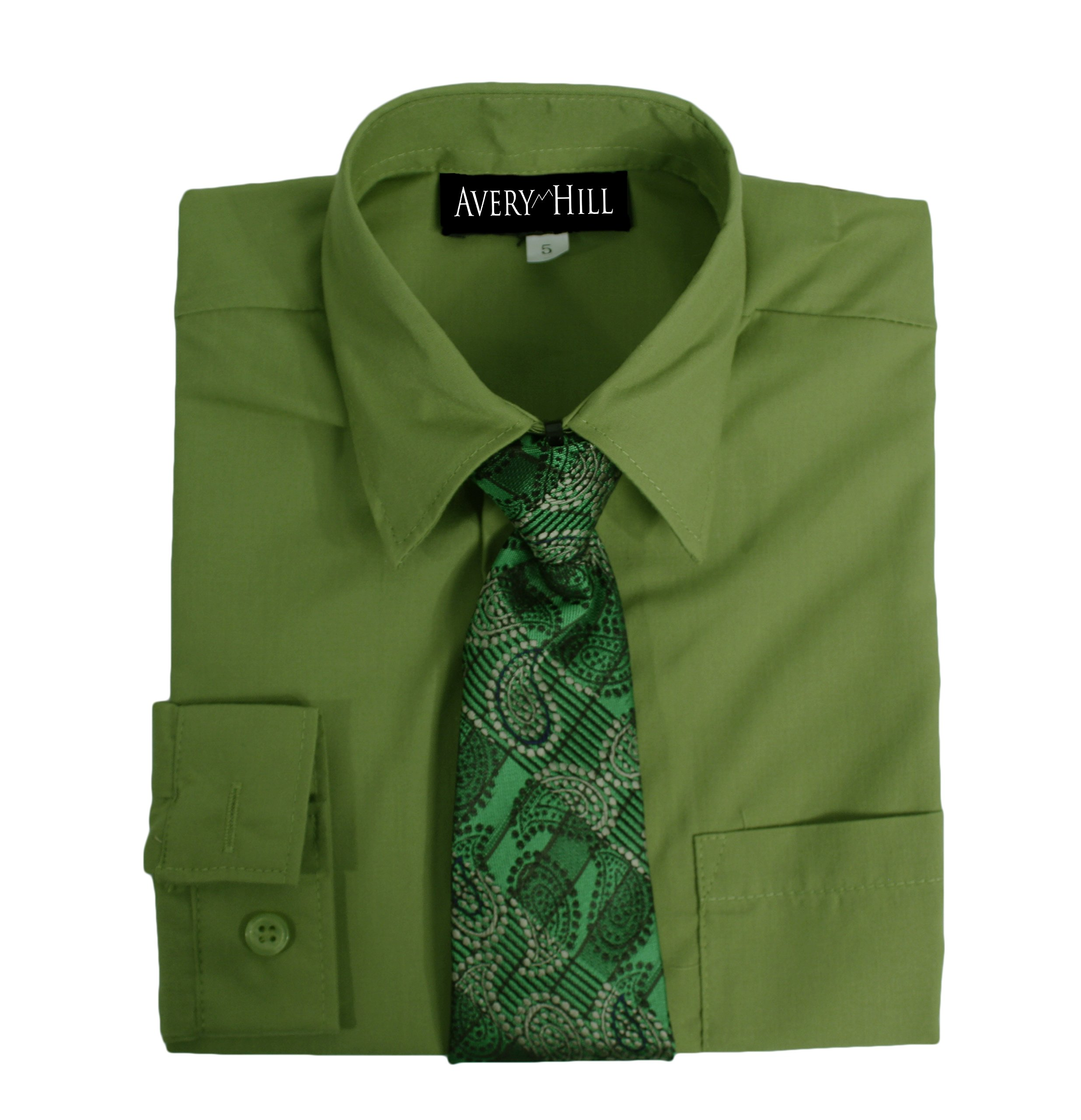 Avery Hill Boys Long Sleeve Dress Shirt with Windsor Tie Olive 12
