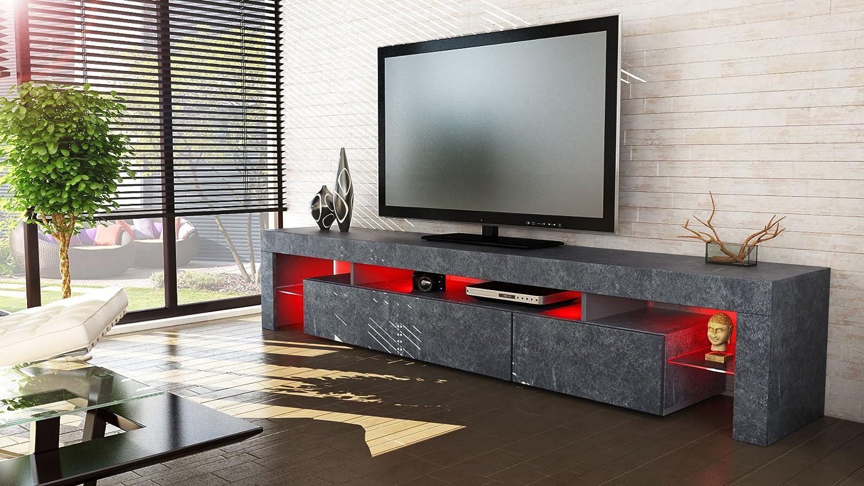 Meuble Tv Bas Armoire Basse Lima Xl Rock En Optique Ardoise  # Meuble Tv Noir Et Rouge