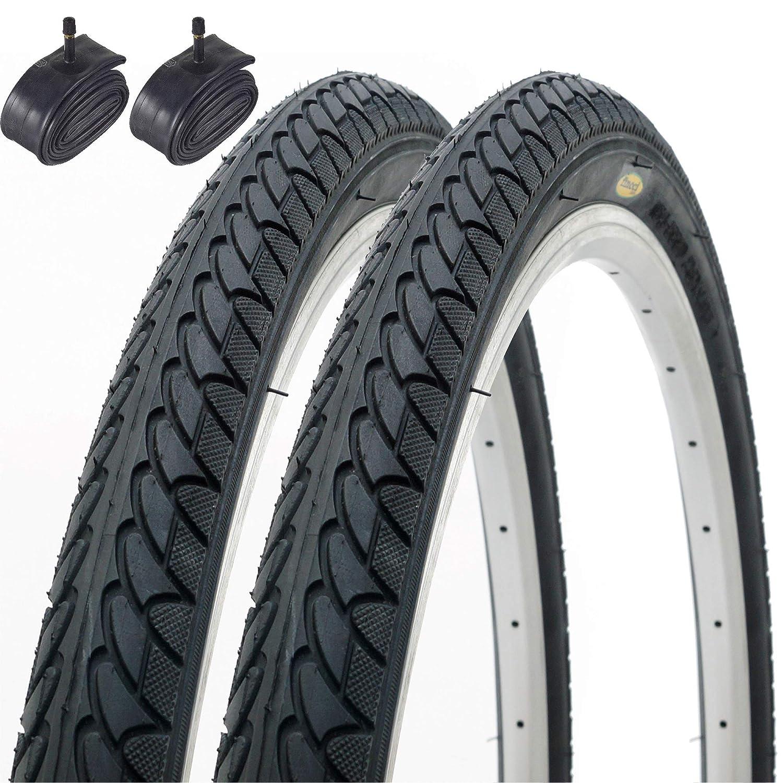 Fincci Par de Neum/áticos para Bicicleta H/íbrida Cubiertas 26 x 1,95 53-559 Schrader Tubos Interiores