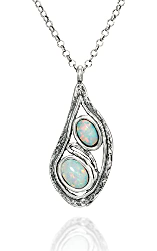 Stera Jewelry Contemporary Design Pendant with 2 Created Blue or White Opals 925 silver Necklace
