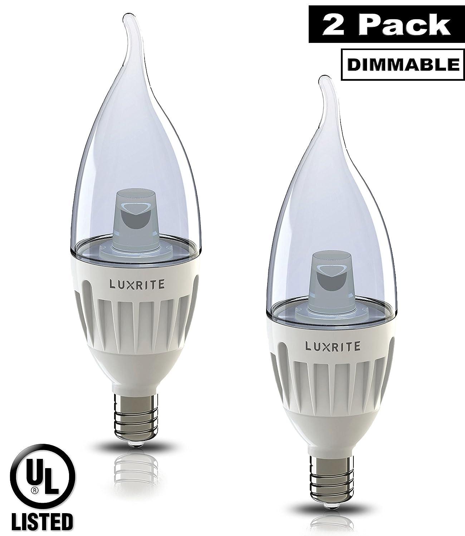 6-Watt Flame Tip LED Candelabra Light Bulb 25-Pack Equivalent to 40W Luxrite LR24500 Dimmable E12 Candelabra Base 80 CRI 25,000 Hour Life UL-Listed Warm White 2700K 400 Lumens
