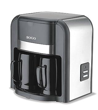 Sogo SS-022 Cafetera Goteo 2 Tazas, 500 W, 0.3 litros, Plástico, Negro y Plata: Amazon.es: Hogar