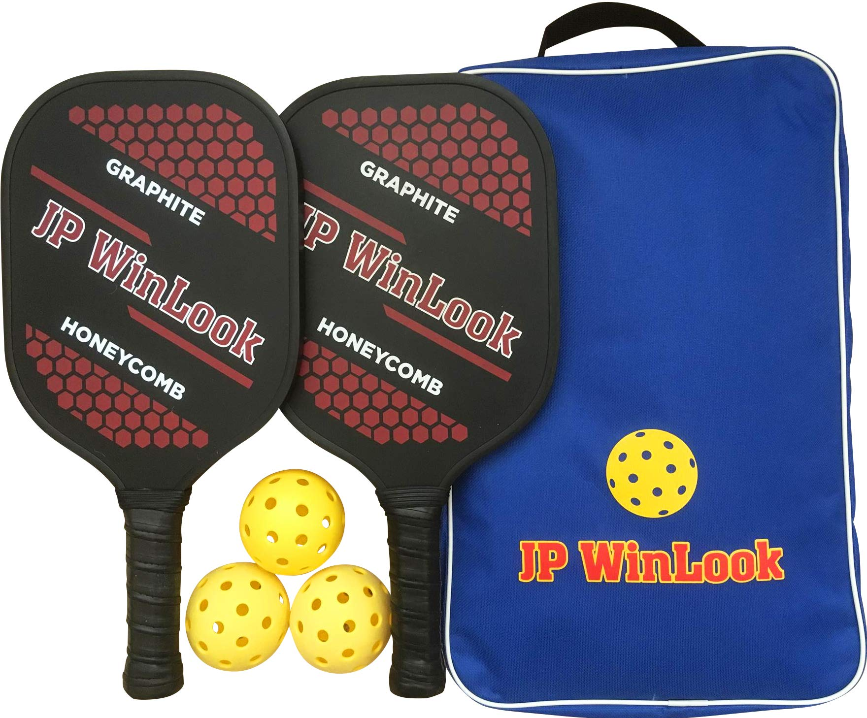 JP WinLook Pickleball Paddle Set - 2 Premium Graphite Rackets Honeycomb Composite Core 3 Balls, Ultra Cushion Grip, Portable Racquet Cover Case Bag Accessories Gift Kit, Men Women Kids Indoor Outdoor by JP WinLook
