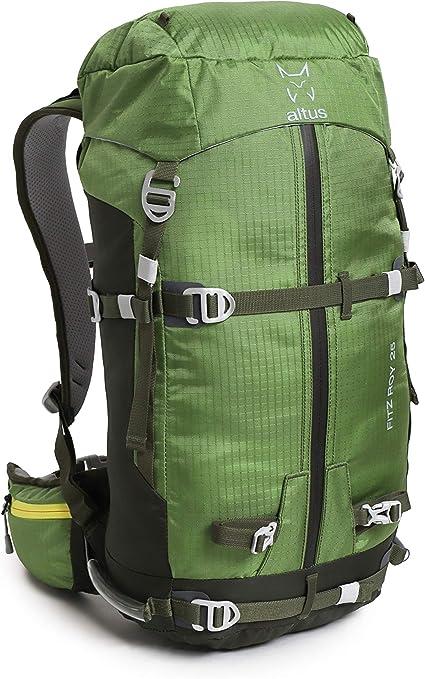 ALTUS - Mochila de Trekking Fitz-Roy 25L, Verde Bosque, 1,1 Kg | Escalada, Esquí | Espalda Termoconformada | Montañismo