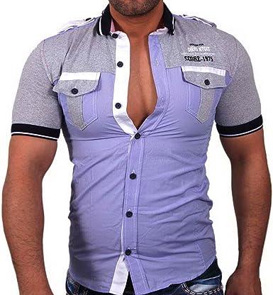 Score manga corta cuello de Polo – Camiseta de Slim Fit Camisa Polo Lila 461 morado medium: Amazon.es: Ropa y accesorios