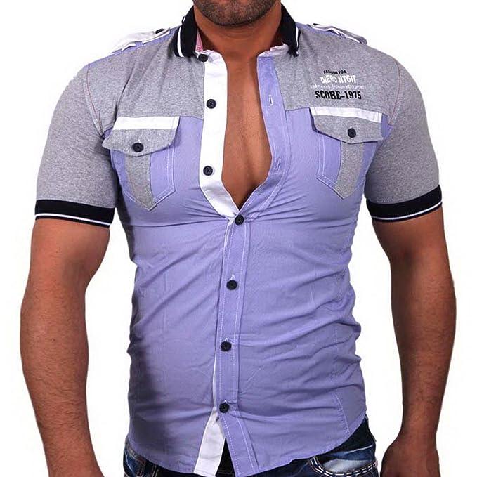 SCORE Manga Corta Cuello de Polo - Camiseta de Slim Fit Camisa ...