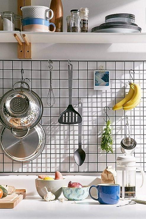 Em & Lee Wire Photo Grid Panel-Wall Storage- Metal Display Organizer-  Modern Clean Kitchen Rack-Black Office Decor- Hanging Tool Board