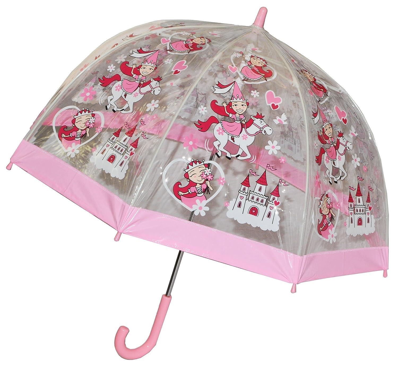 Regenschirm Prinzessin / Märchenschloß / Pferde - Kinderschirm transparent incl. Namen - Ø 70 cm - Kinder Stockschirm - für Mädchen Schirm Kinderregenschirm / Glockenschirm Fee Herzen durchsichtig & durchscheinend Kinder-land