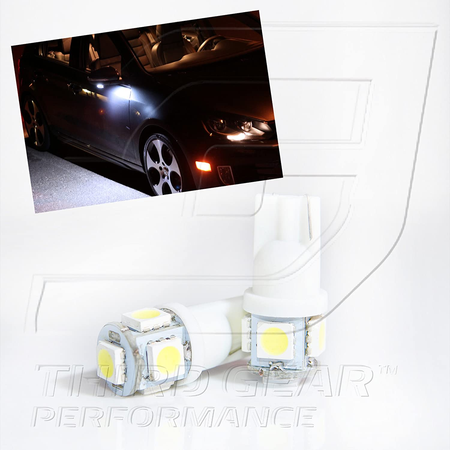 TGP T10 White 5 LED SMD Wedge 5050 Under Puddle Light Bulbs Pair 2006-2012 Lexus IS250 IS350 Third Gear Performance