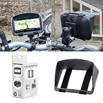 Digicharge Sun Shade Visor For Motorbike Sat Nav Garmin Zumo TomTom Rider  BMW etc With 4 3'' Or 5'' Screen GPS Cap Hood With Secure And Robust Strap