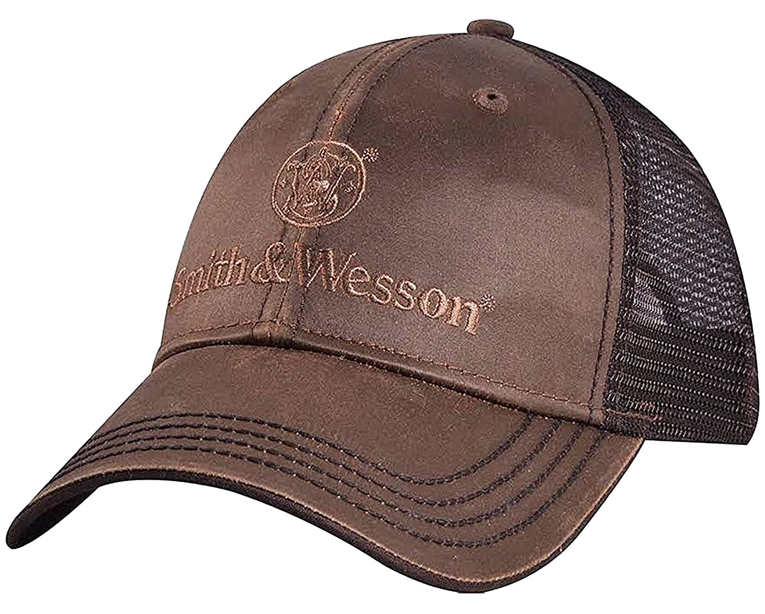 Smith /& Wesson Oilskin Mesh Backed Hat Brown