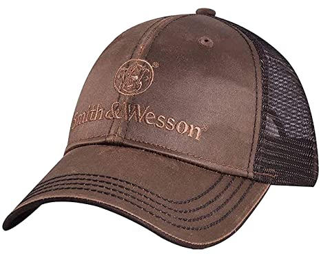 8c15e2dc7 Smith & Wesson Oilskin Mesh Backed Hat, Brown