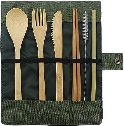 RoseLock Juego de cubertería de bambú para camping y viaje, sostenible, sin plástico, cubiertos, cuchara, tenedor, cuchillo y pajita de madera