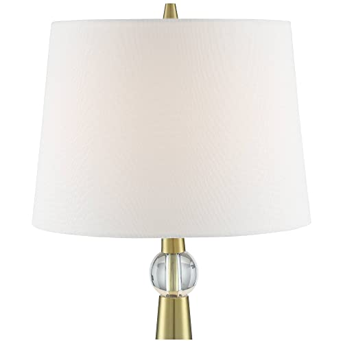 Neva Modern Table Lamp Gold Metal Column Crystal Accent Tapered Drum Shade for Living Room Bedroom Bedside Nightstand Office Family – 360 Lighting