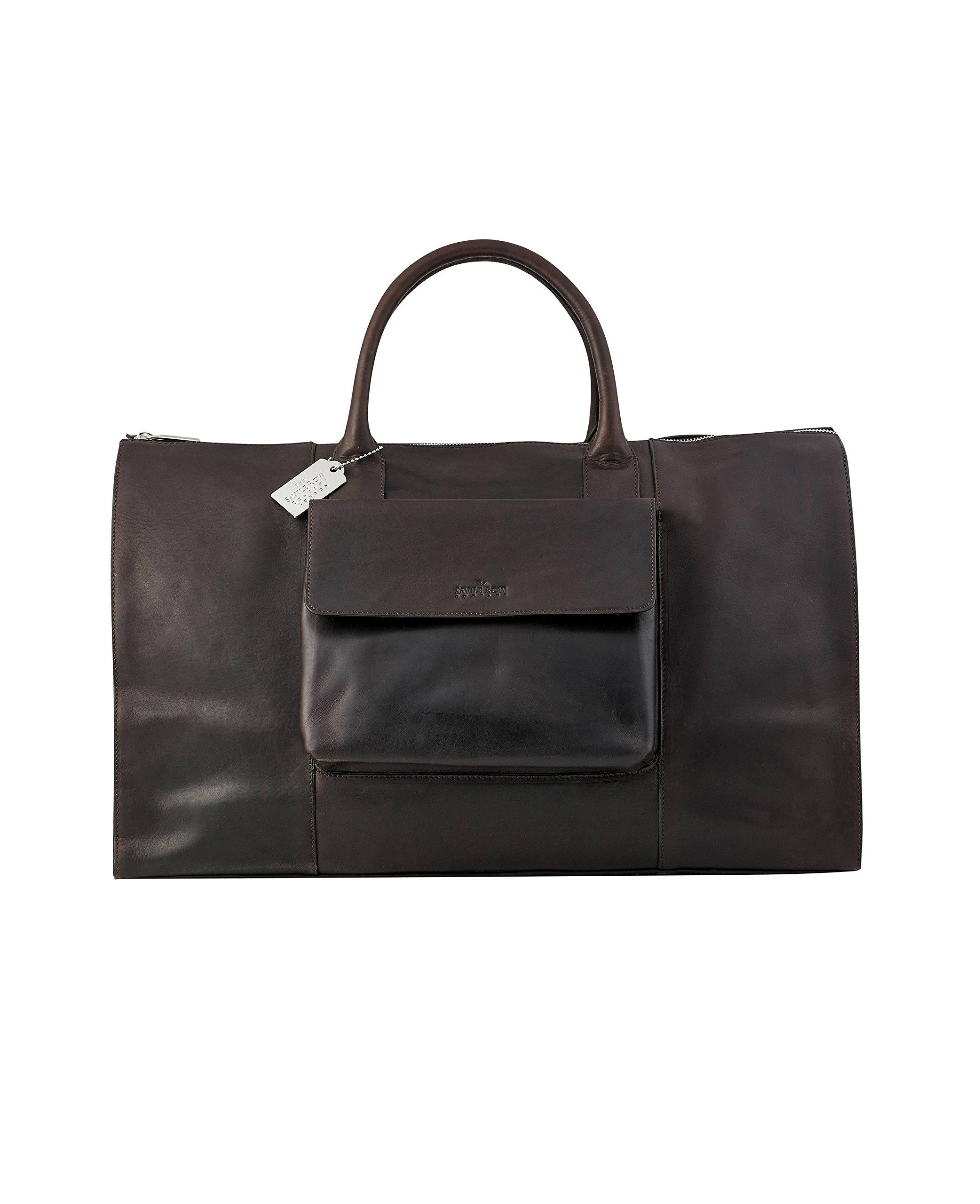 Savile Row Men's Dark Brown Leather Holdall