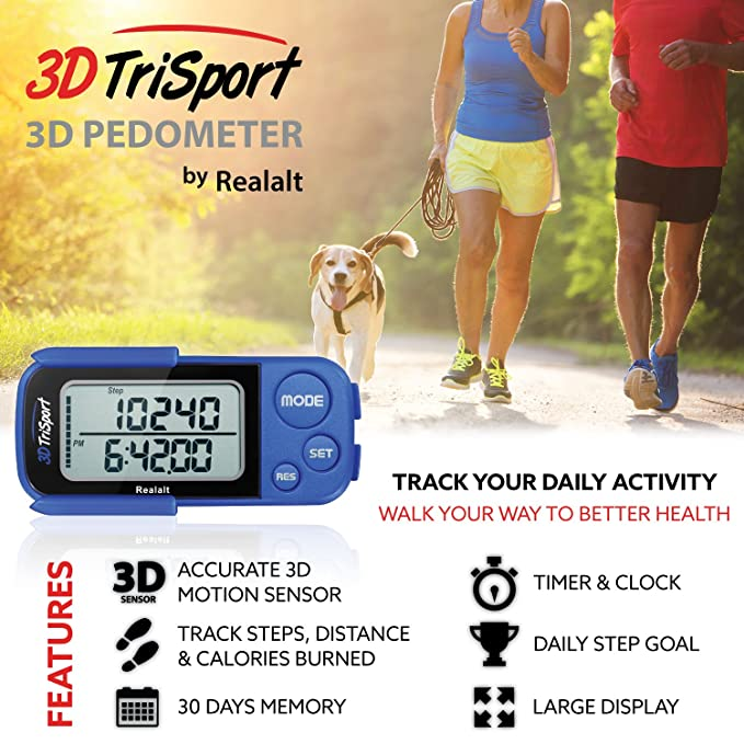 Free Ebook30 Day Realalt 3Dtrisport Walking 3D Pedometer With Clip And Strap