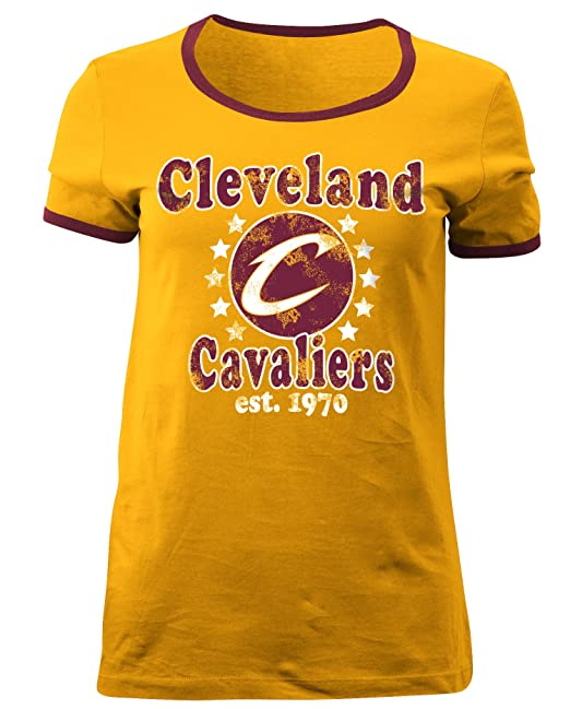 low priced a13d4 996c8 5th & Ocean NBA Cleveland Cavaliers Adult Women Ladies Baby Jersey Short  Sleeve Ringer Tee,L,Gold