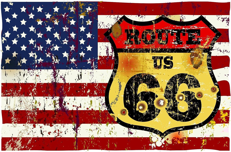 Michael Rene Pflüger Barmstedt Premium Aufkleber 8x5 Cm Fahne Flagge Der Usa Vintage Route 66 Sticker Auto Motorrad Bike Autoaufkleber Auto