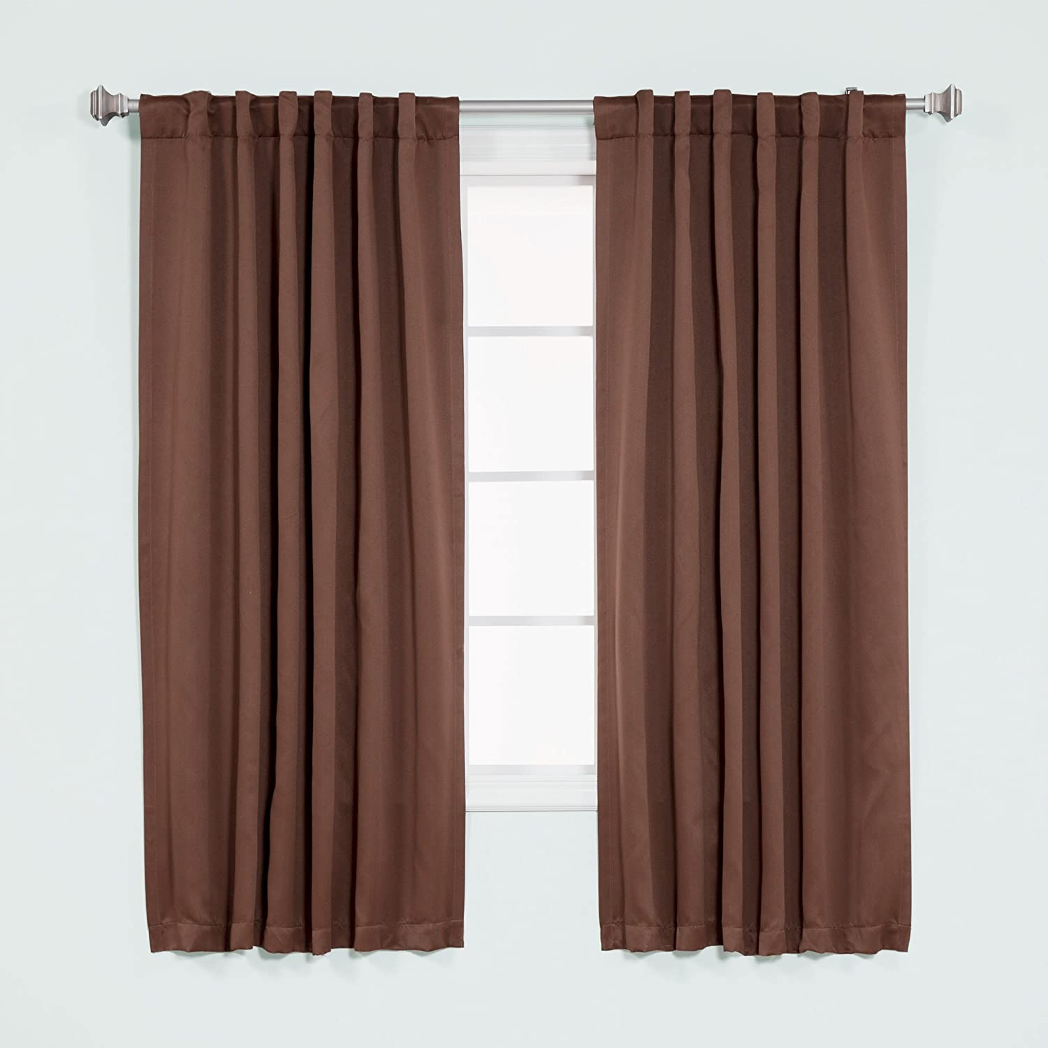 Best Home Fashion Basic Thermal Insulated Blackout Curtains - Back Tab/Rod Pocket - Chocolate - 52