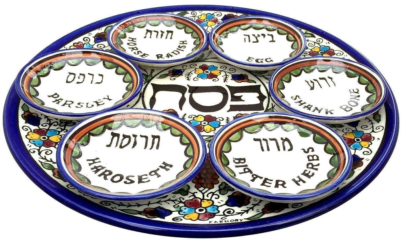 Round Armenian Ceramic Seder Plate with 6 Bowls, Colourful Grape Design, 30cm Armenian Ceramics