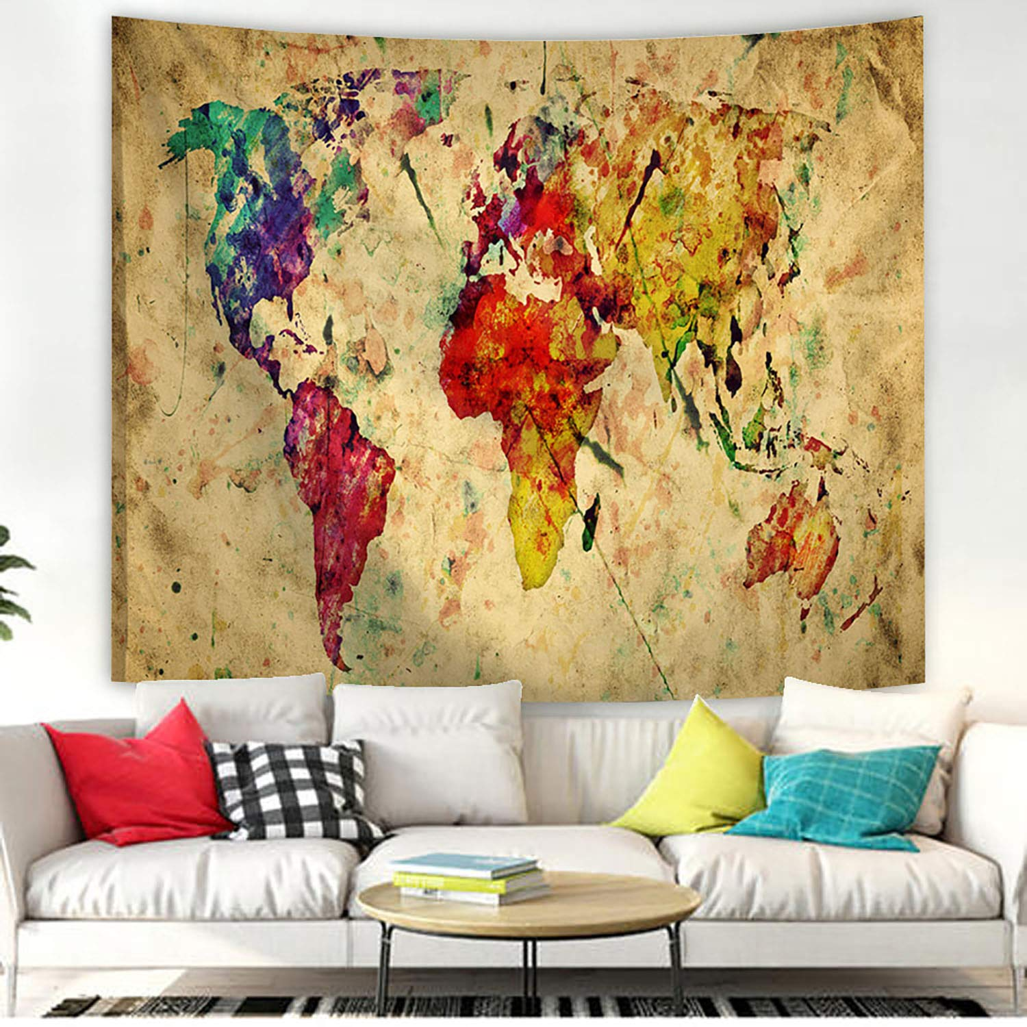 POTENCO Blankets, World Map Picnic Mat Medieval Educational Tapestry Wall Hanging Beach Towel (D, 230150cm)