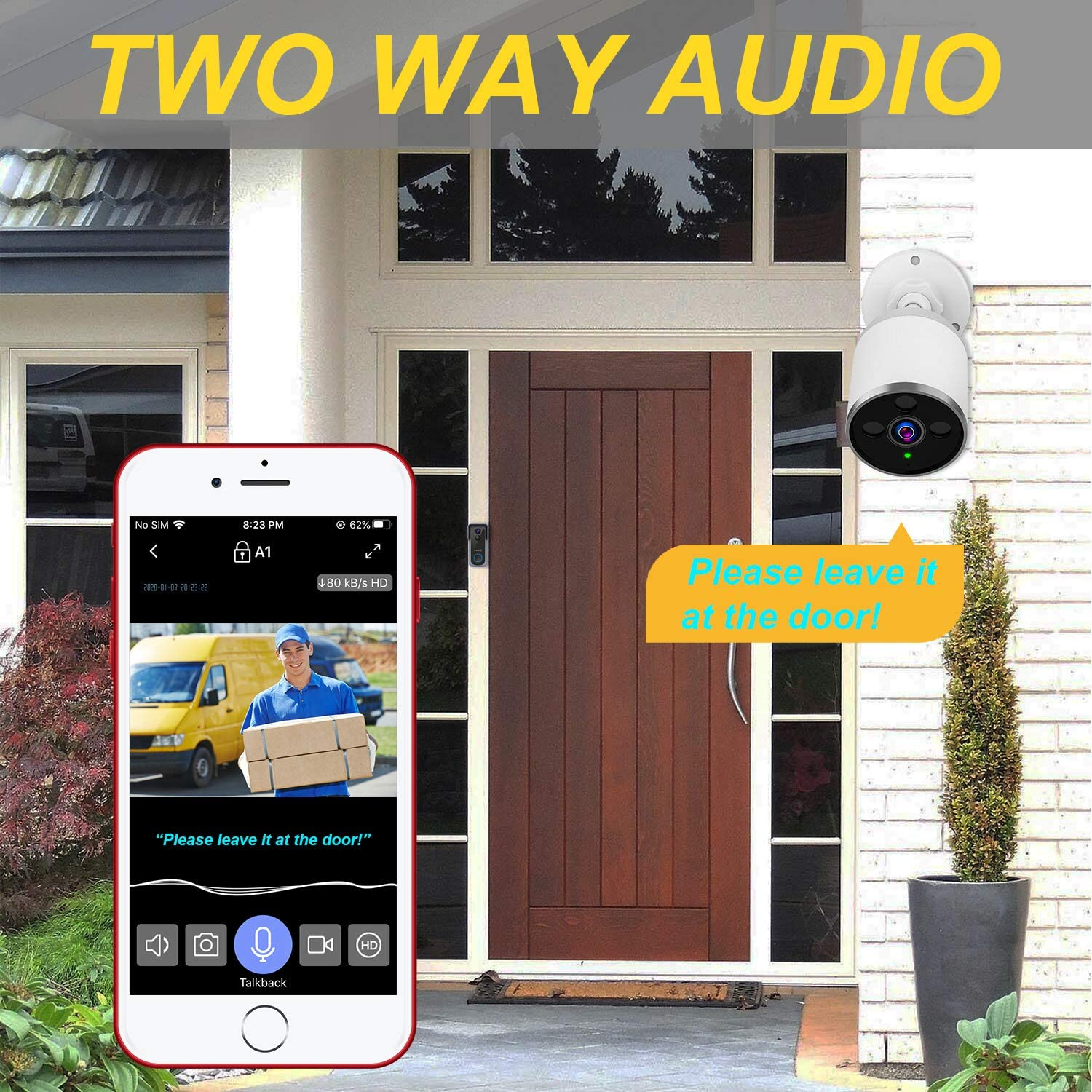 2-Way Audio Cloud Storage//SD Slot for Waterproof Surveillance System 2.4G WiFi//Ethernet 1080P Night Vision AHOME A1 Outdoor Security Camera Wireless with Motion Detection Deterrent Alarm Black