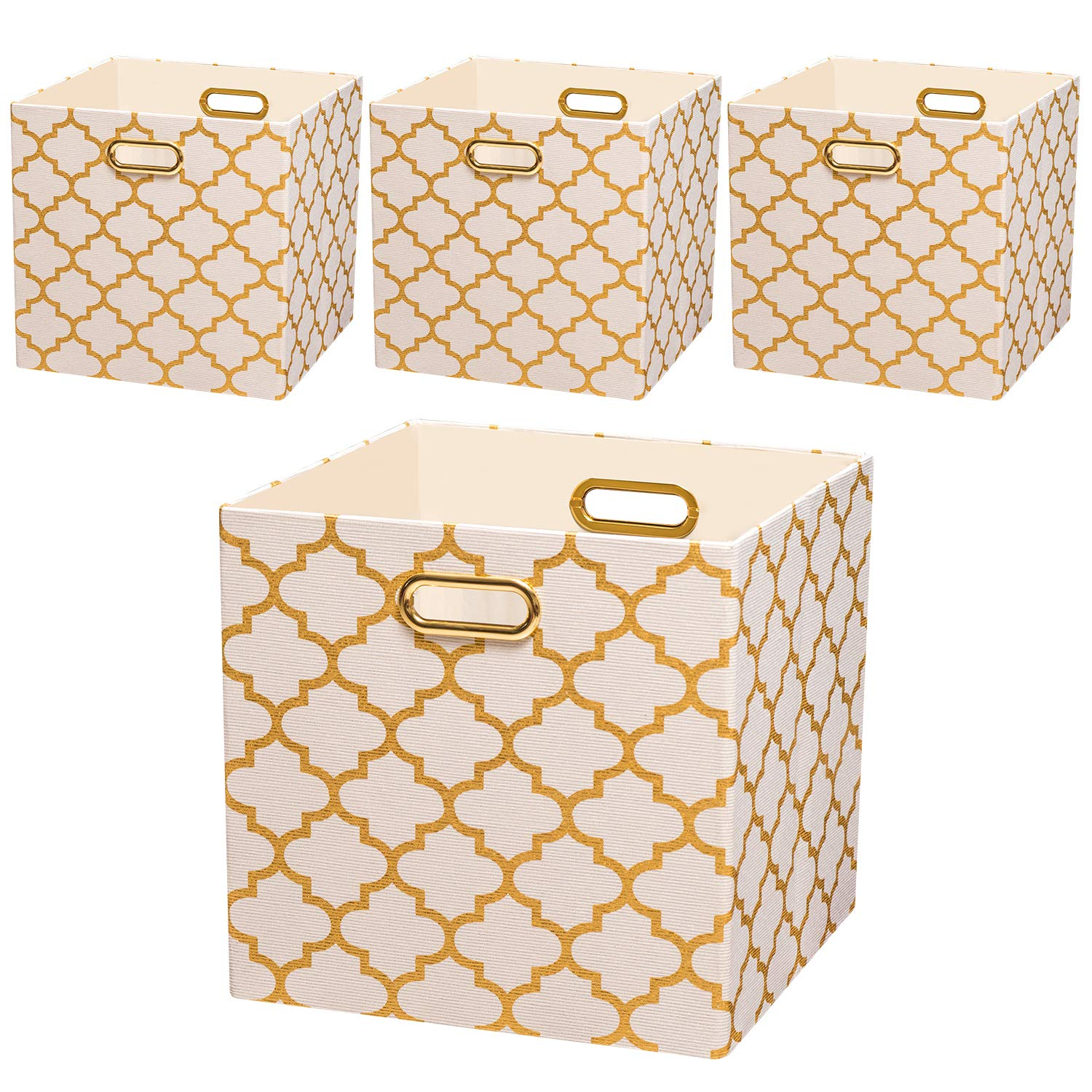 Posprica Storage Bins, 13×13 Storage Cubes, Collapsible Baskets Boxes Containers Fabric Drawers (4pcs, White Lantern Patterned) by Posprica