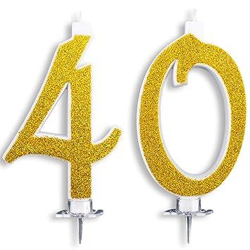 Velas Maxi de 40 años para Tarta de cumpleaños, 40 años, decoración de Velas de cumpleaños, Tarta 40, Fiesta temática, Altura 13 cm, Color Dorado ...