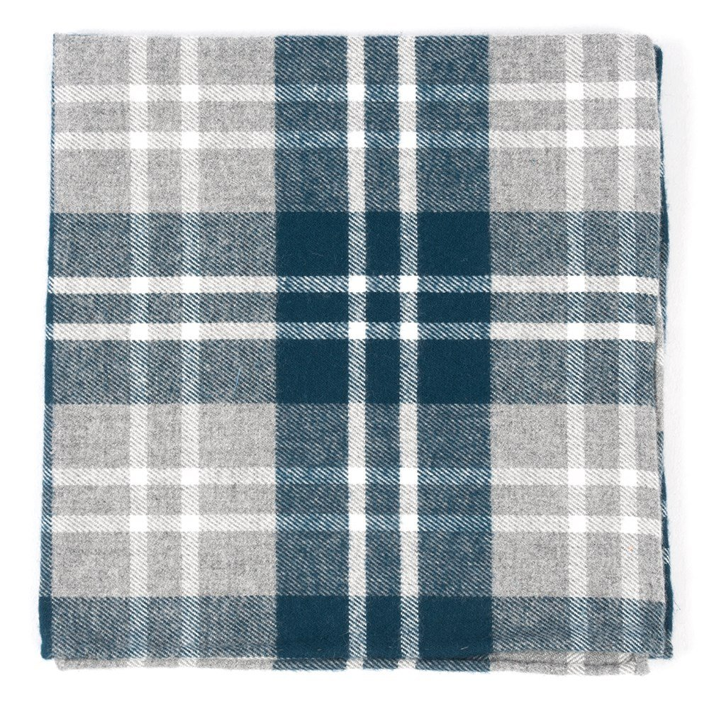 The Tie Bar 100% Combed Cotton Bradenburg Plaid Teal Pocket Square