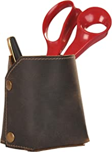 """Leather Pen Holder - Pencil Holder Office Desk Organizer - Accesorries Paperclip Cosmetics Brush Cup Organizers - Small Foldable Vintage Leather Pen Case Box Caddy Storage Container, Dark Brown 4""""x3"""""""