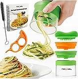 Premium 2 Klingen Spiralschneider Hand für Gemüsespaghetti kartoffel - mit BÜNDEL Kochbuch und enthält die Bürste für die Reinigung - FabQuality Zucchini Spargelschäler, Gurkenschneider, Gurkenschäler, Möhrenreibe Möhrenschäler, Gemüsehobel