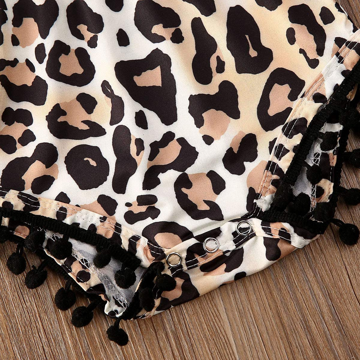 Mialoley Baby Girl Cotton Leopard Romper Sleveless One Piece Cheetah Print Bodysuit with Pom Poms Jumpsuit Sunsuit Outfit