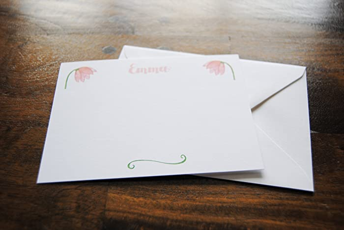 amazon com girls personalized stationery set emma a2 flat card