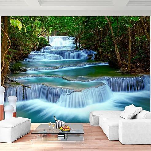 fototapete wasserfall 352 x 250 cm vlies wand tapete wohnzimmer schlafzimmer bro flur dekoration wandbilder xxl - Natur Wand Im Wohnzimmer