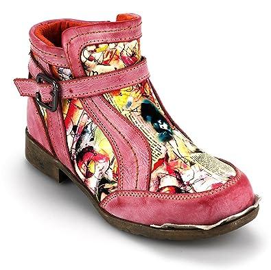 TMA Damen Echtleder Stiefeletten Boots Leder Damenschuhe 5191 (36, Rot)