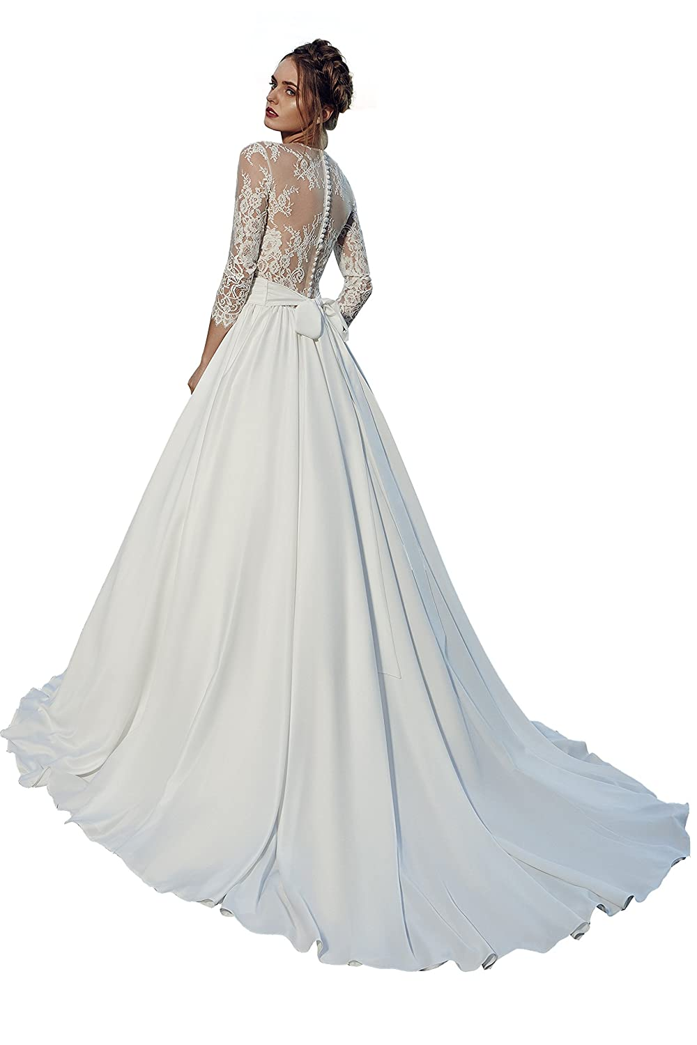 Lanesta Woman\'s Wedding Dress with A-line Silhouette and Button Up ...