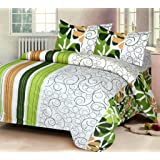 IWS Luxury Printed 120 TC Cotton Double Bedsheet with 2 Pillow Covers - Green
