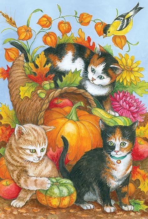 Toland Home Garden Kitten Cornucopia 12.5 x 18 Inch Decorative Fall Kitty Cat Pumpkin Garden Flag
