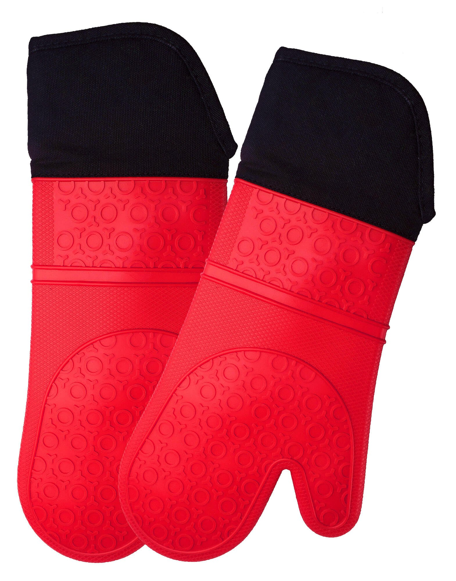 Extra Long Professional Silicone Oven Mitt - 1 Pair - Oven Mitts with Quilted Liner - Red - Homwe by HOMWE