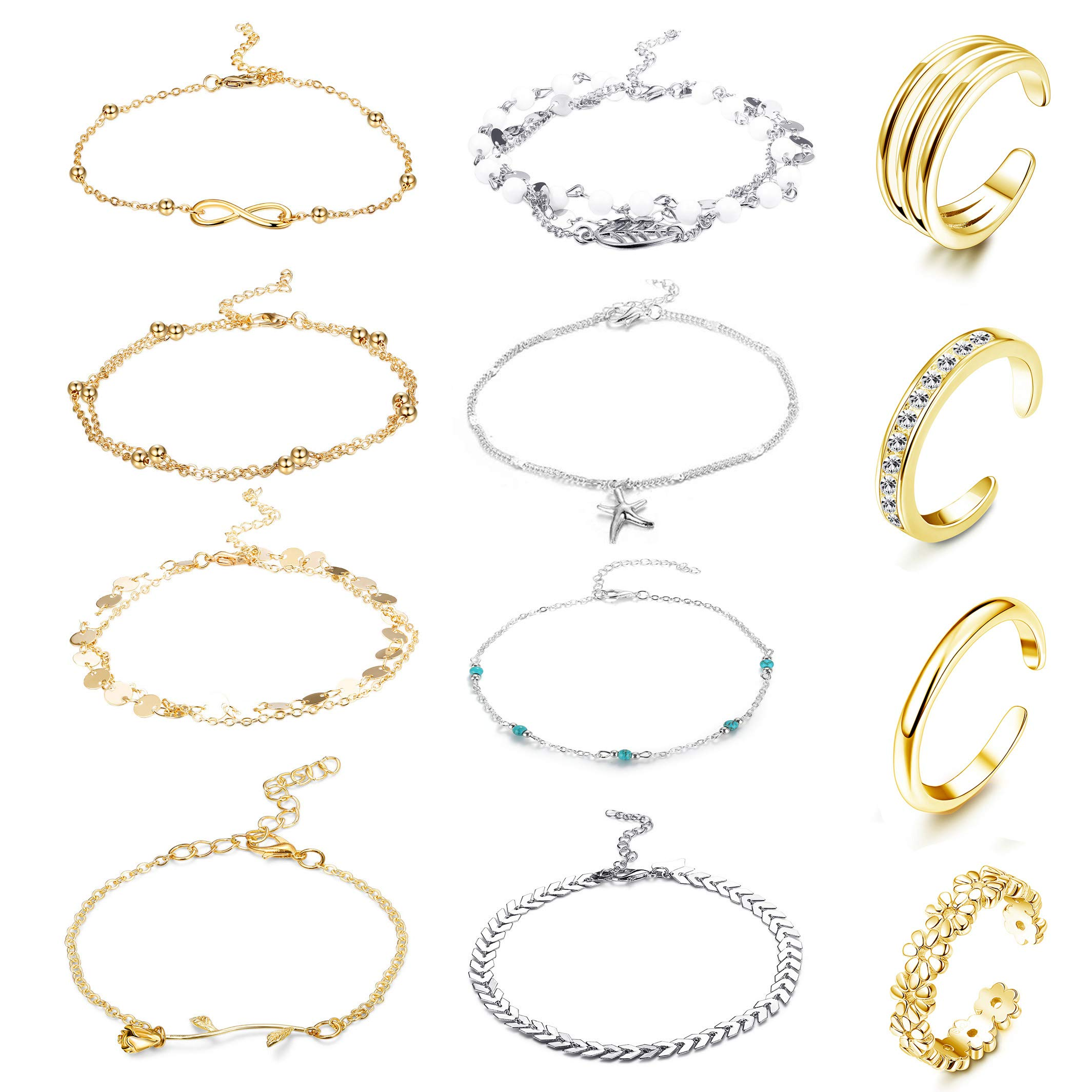 FUNRUN JEWELRY 12PCS Anklet and Toe Ring Set for Women Girls Beach Ankle Bracelets Adjustable Open Toe Ring Foot Jewelry (Color B) by FUNRUN JEWELRY
