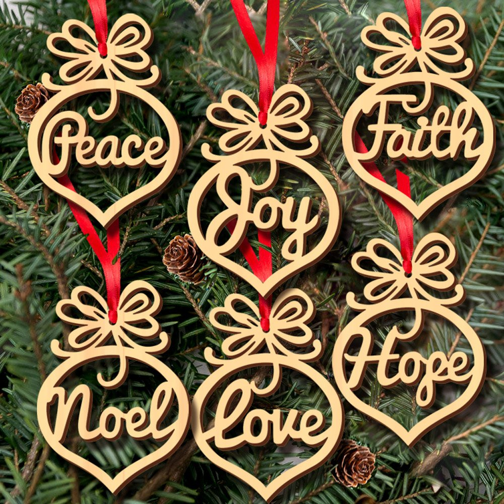 Christmas Decoration Hot Sale!Libermall Christmas Decorations Wooden Ornament Xmas Tree Hanging Tags Pendant Decor, Perfect for Festival Xmas Celebrate Hanging Decoration
