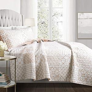 Lush Decor Blush Monique 3 Piece Reversible Print Pattern Pink Quilt Set-Full Queen