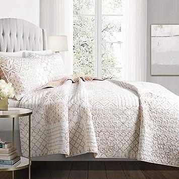 Lush Decor Monique 3 Piece Reversible Print Pattern Blush Pink Quilt Set Full Queen by Lush Decor