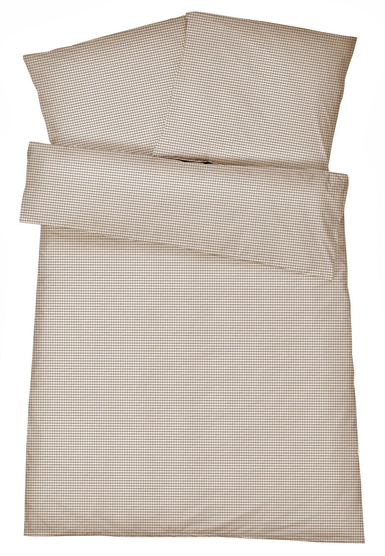 Carpe Sonno Kühle Mako Perkal Bettwäsche 135 x 200 cm in Braun aus 100% Baumwolle Schlafkomfort bei Warmen Temperaturen – 2-Teiliges Kariertes Bettwäsche-Set mit Kopfkissenbezug 80 x 80 cm