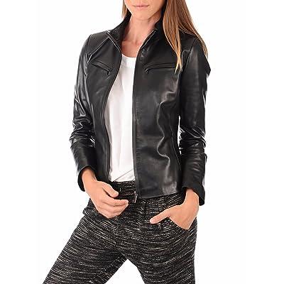 Aaron Craft Women's Lambskin Leather Bomber Biker Jacket at Amazon Women's Coats Shop